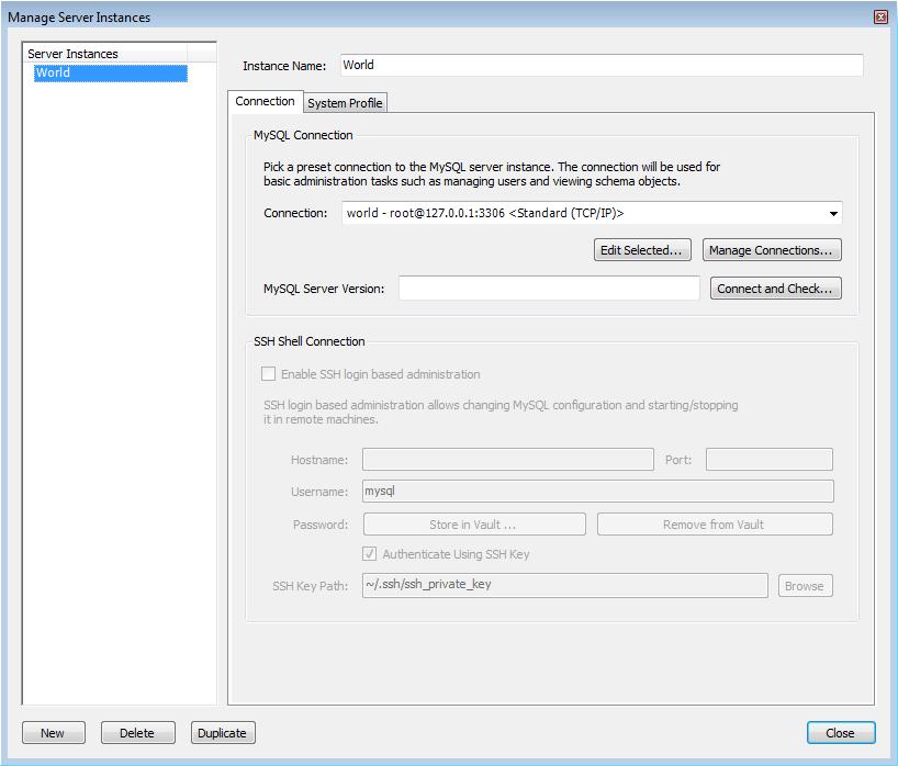 MySQL :: MySQL Workbench :: 8 1 1 2 Manage Server Instances