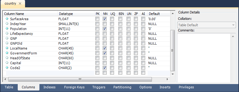 MySQL :: MySQL Workbench :: 7 5 1 3 The MySQL Table Editor